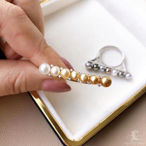 KESHI 4-5 mm Wild South Sea Pearl Ring 18k Gold w/ Diamond- AAAA