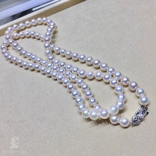 85cm Sweater Long Necklace, AAA 8-8.5 mm Akoya Pearl Strand 14K Gold