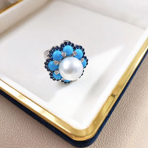 1.40ct Sapphire AAAA 11-12 mm South Sea Pearl Ring Pendant 18k Gold w/ Turquoise