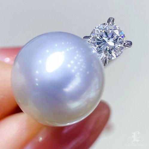 0.57 ct G/I Diamond, AAAA 12-13 mm Pinctada Maxima|白蝶 Pearl Luxury Ring 18k Gold