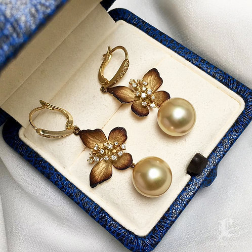 AAAA 11-12mm Golden South Sea Pearl Classic Earrings 18k Gold