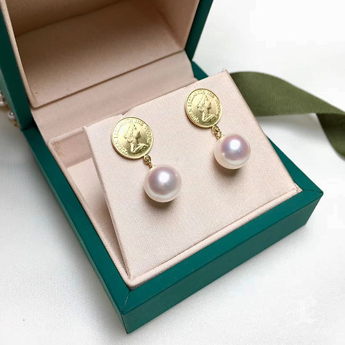 AAAA 8-8.5 mm Akoya Pearl Earring 18k Gold Coin