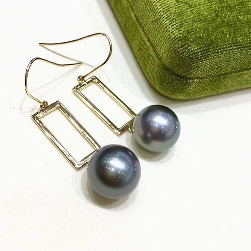 AAAA 12-13 mm Tahitian Pearl Earrings, 18k Gold