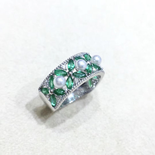1.9ct Emerald, AAAA 3-3.5 mm Baby Akoya Pearl Ring, 18k Gold w/ Diamond