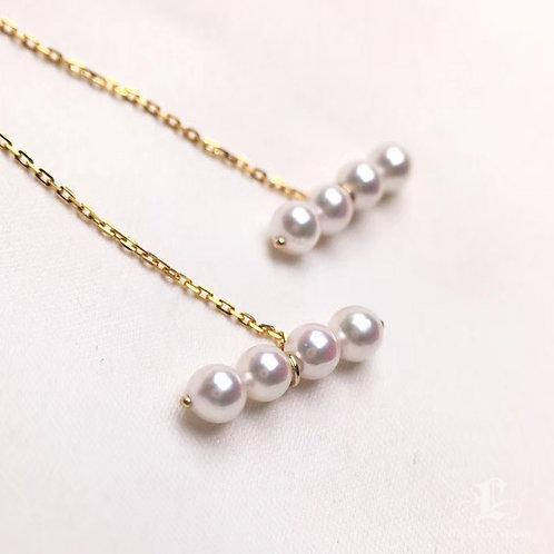 AAA 3.5-4mm Baby Akoya Pearl Fashion Earrings 18k Gold