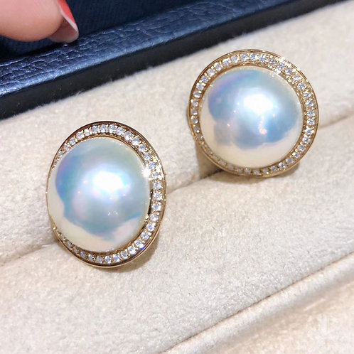 0.53ct Diamond Aurora 14-15 mm Mabe Pearl Earrings 18k Gold