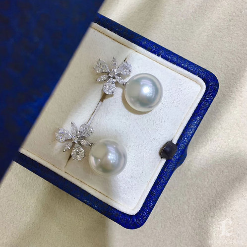 1.2ct Diamond, AAAA 12-13 mm South Sea Pearl Luxury Earrings 18k Gold