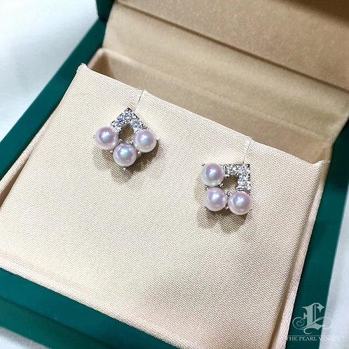 AAAA 3-4 mm Akoya Pearl Fashion Earrings, 18k Gold w/ Diamond