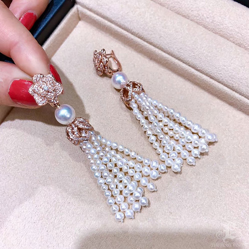 1.5ct Diamond AAAA 8-8.5 mm Akoya Pearl Tassel Earrings 18k Gold