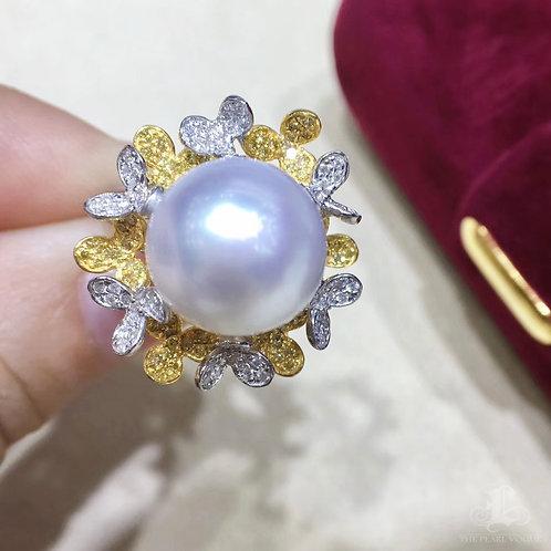 0.51ct Diamond, AAAA 12-13 mm South Sea Pearl Luxury Ring, 18k Gold