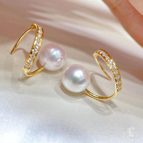0.29 ct Natural Diamond, Aurora 8-8.5 mm Akoya Pearl Earrings 18k Gold
