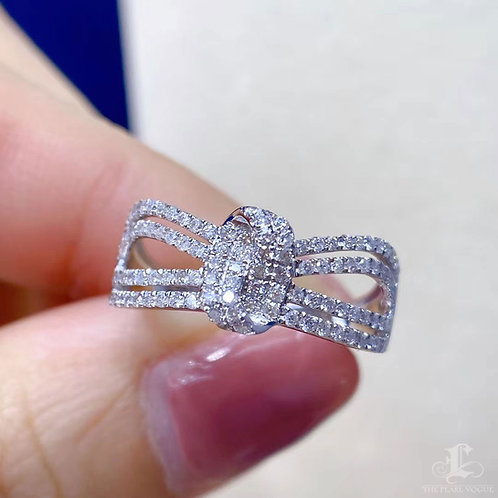 0.50 ct FG/SI Micro-Pave Natural Diamond Openwork Band Ring 18k Gold