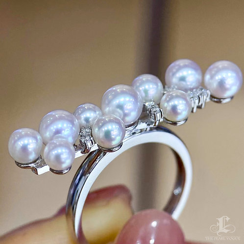 AAAA 3-6.5 mm Akoya Pearl Balance Ring 18k Gold w/ Diamond