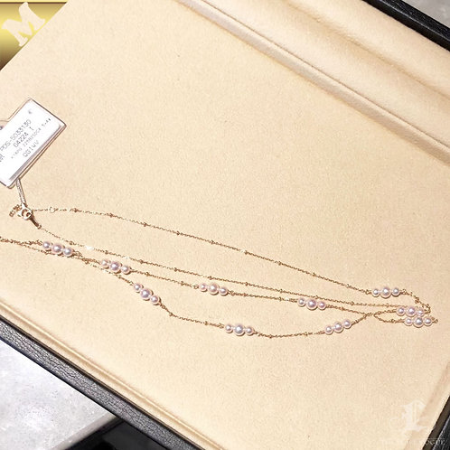 79cm, PMS AAAA 3-5 mm Akoya Pearl Tin Cup Necklace 18k Rose Gold