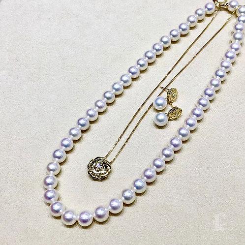 43cm, Aurora Hanadama|天女 8.5-9 mm Akoya Pearl Necklace w/ Japanese Certificate