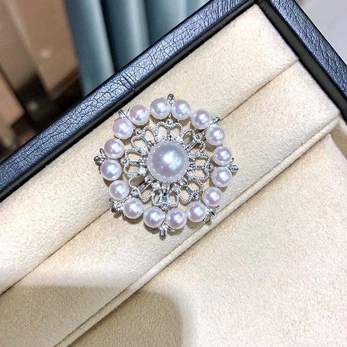 0.29ct Diamond, AAAA 5-6 mm Baby Akoya Pearl Pendant Brooch 18k Gold