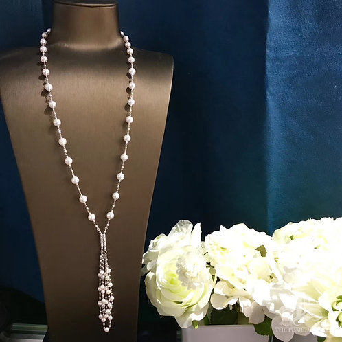 80cm Long Chain, AAA 6.5-7 mm Akoya Pearl Tin Cup Sweater Necklace 18k Gold