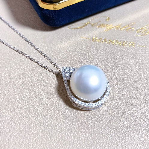 0.5 ct Diamond, AAAA 13-14 mm South Sea Pearl Luxury Pendant, 18k Gold