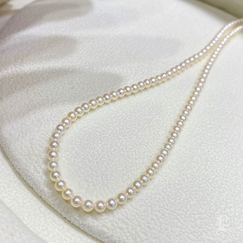 42 cm, AAAA 2.5-3 mm Baby Akoya Pearl Necklace w/ Silver Clasp
