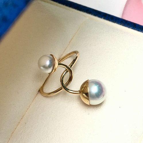 5.5-6 & 8-8.5mm Akoya Pearl Ring, 18k Gold - AAAA