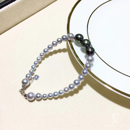 AAAA 4.5-10 mm Tahitian Pearl and Akoya Pearl Adjustable Bracelet 18k Gold