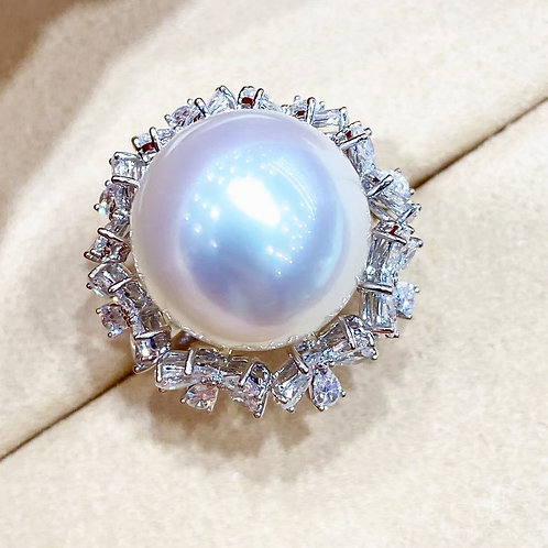 2.30 ct Diamond AAAA 16 mm Pinctada Maxima|白蝶 Pearl Ring 18k Gold w/ Certificate