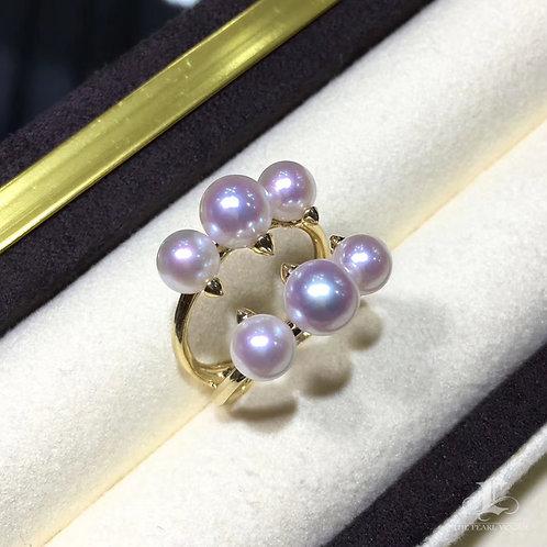 5.5-6 mm & 6.5-7 mm Akoya Pearl Ring, 18k Gold - AAAA