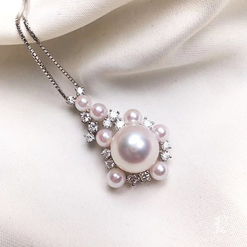 0.38ct Diamond, AAAA 4-9mm Akoya Pearl Pendant, 18k White Gold w/ Diamond