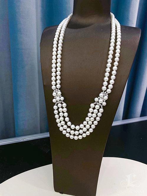 70 cm AAA 6.5-7.5 mm Akoya Pearl Multi-Strand Necklace 18k Gold w/ Diamond