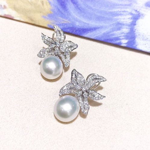 1.35 ct Diamond, AAA 11-12 mm South Sea Pearl Earrings 18k Gold