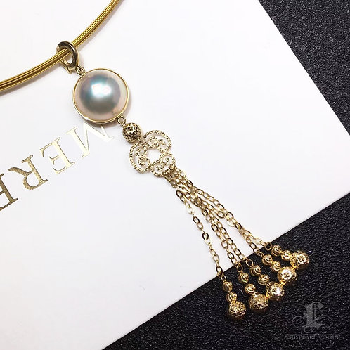 14-15mm Mabe Pearl Necklace Pendant 18k Gold - AAA