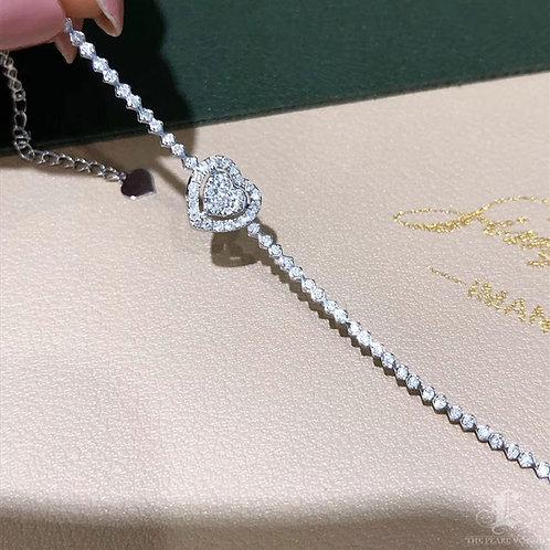 0.73 ct GH/SI Natural Diamond Micro-Pave Bracelet 18k Gold