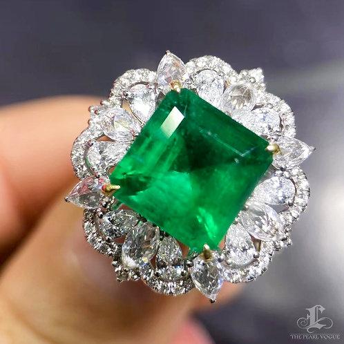 5.04 ct Natural Vivid Green Emerald Ring Pendant 18k Gold Diamond