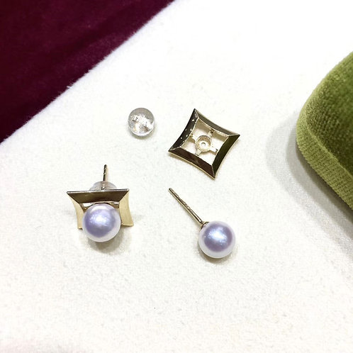 Wear Two Ways! AAAA 7-7.5 mm Akoya Pearl Fashion Earrings 18k Gold