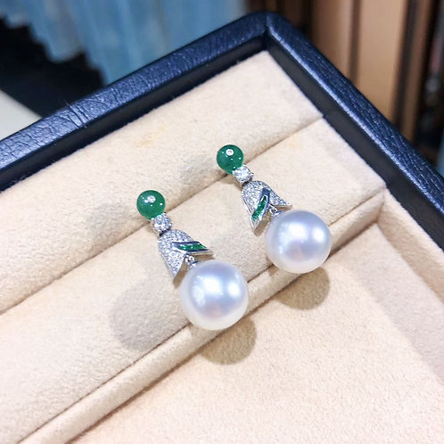 1.80ct Emerald, AAAA 11-12 mm South Sea Pearl Royal Earrings 18k Gold w/ Diamond