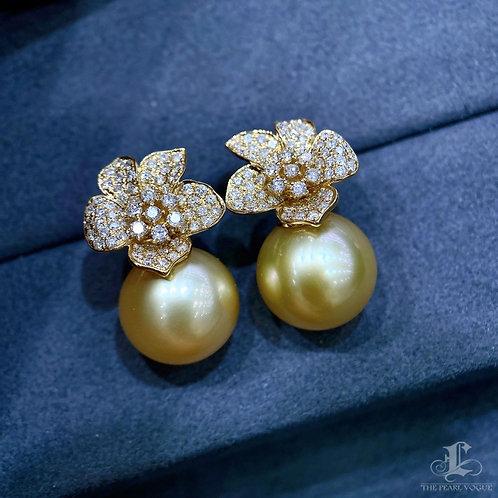0.92 ct Diamond AAAA 12 mm South Sea Pearl Earrings 18k Gold w/ Certificate