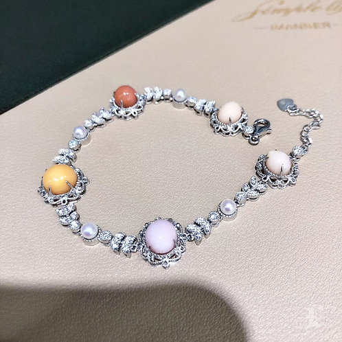11.80 ct Multicolor Conch Pearl Bracelet 18k Gold w/ Diamond