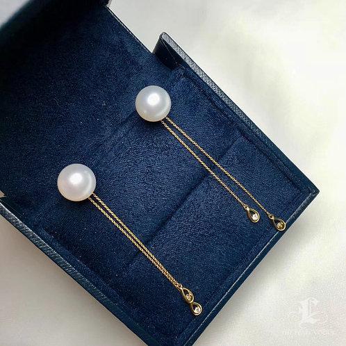 AAAA 10-11 mm South Sea Pearl Earrings, 18k White Gold w/ Diamond