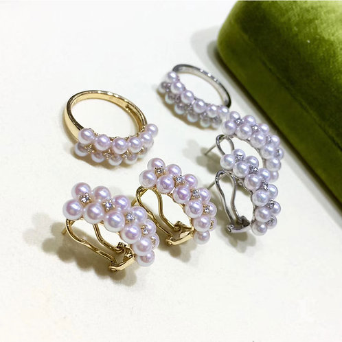 0.25ct Diamond, AAAA 3.5-4mm Baby Akoya Pearl Clip-on Earrings, 18k Gold