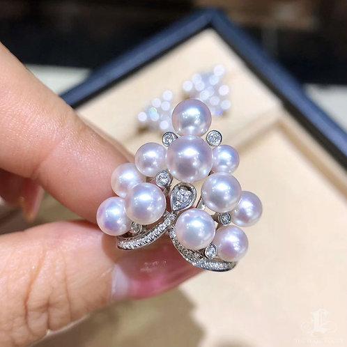0.32 ct Diamond, AAAA 5-8 mm Akoya Pearl Luxury Ring 18k Gold