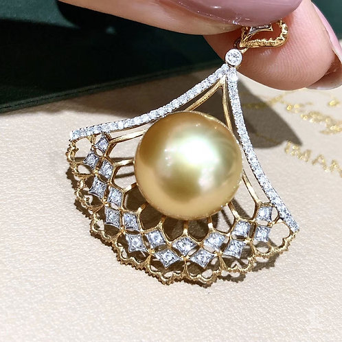 0.40 ct Diamond AAAA 13-14 mm Golden South Sea Pearl Pendant 18k Gold