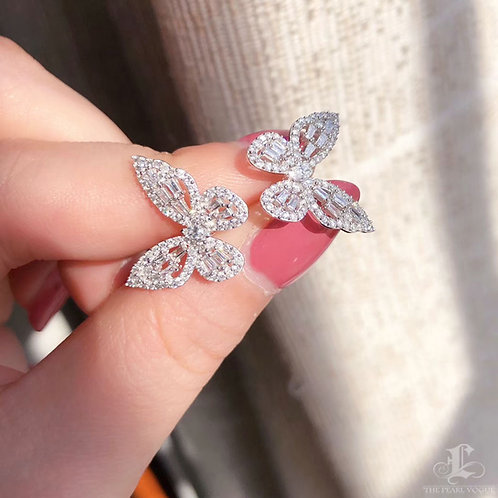 1.00ct FG/SI Micro-Pave Natural Diamond Butterfly Earrings 18k Gold