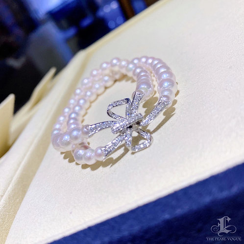 0.39 ct Diamond, AAAA 4-6.5  mm Akoya Pearl Bracelet 18k Gold