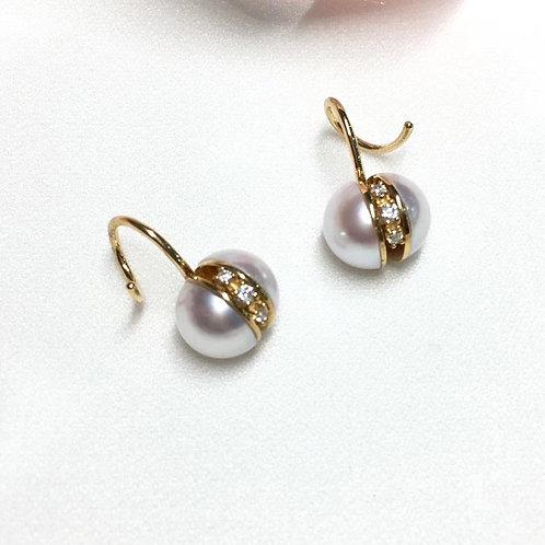 AAA 7.5-8 mm Akoya Pearl Earrings, 18k Gold w/ Diamond