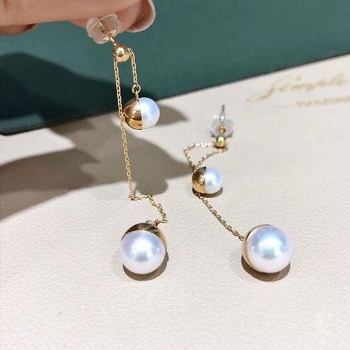 AAAA 5.5-6 mm & 8-8.5 mm Akoya Pearl Adjustable Earrings 18k Gold