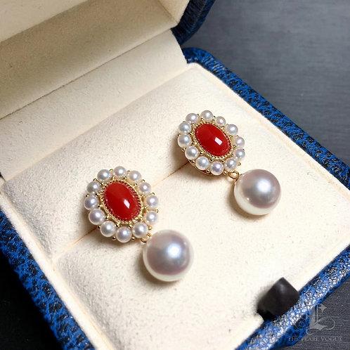 AAAA 8-8.5mm Akoya Pearl Earrings, 18k Gold w/  Aka Coral