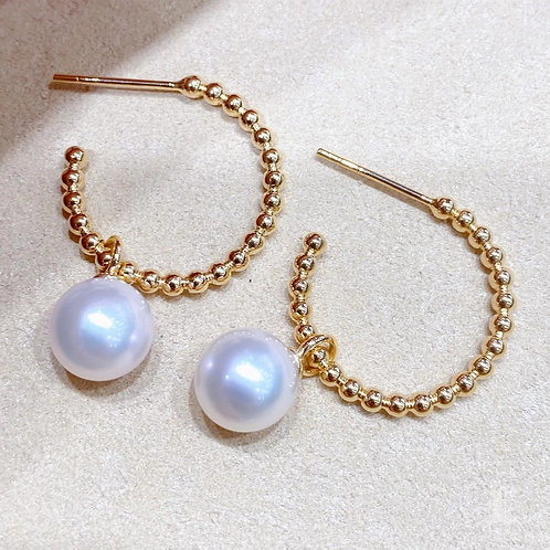 AAAA 8.5-9 mm Akoya Pearl Earrings 18k Gold, Wear Two Ways