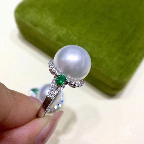 0.50ct Diamond, AAAA 12-13 mm South Sea Pearl Royal Ring, 18k Gold w/ Emerald
