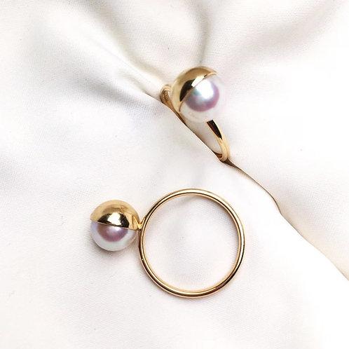 8.5-9mm Akoya Pearl Ring 18k Gold - AAA