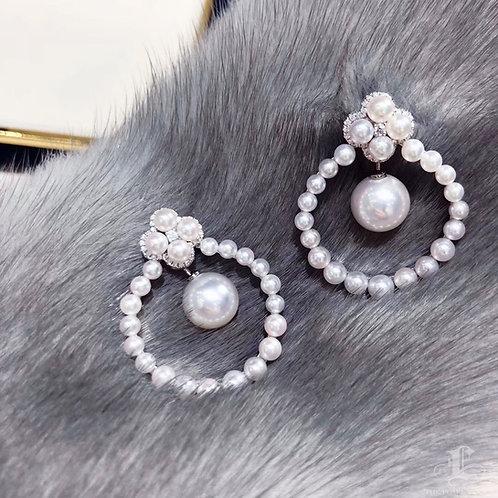 0.33 ct Diamond, AAAA 3-9.5 mm Akoya Pearl Luxury Earrings 18k Gold